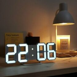 Modern Digital 3D White LED Wall Clock Alarm Clock Snooze 12 24 Hour Display USB