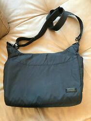 PACSAFE BLACK BAG NYLON SUPER SECURE TRAVEL CROSSBODY SHOULDER RFID SAFE $20.00