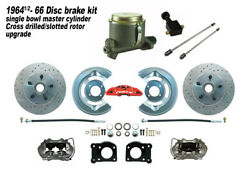 1964-66 Ford Mustang Front Drum To Disc Brake Conv Kit M/c -11 Drilled Rotors