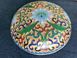 Vintage Chinese Cloisonné Champleve Enamel Domed Round Trinket Box 4.5