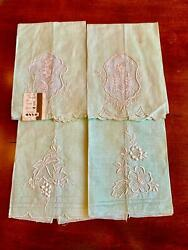 Vintage Set Of Four Embroidered Linen Hand Towels