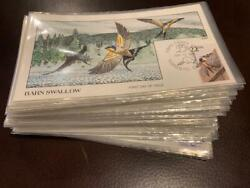 2286-2335 Complete Set Of 50 North Amer. Wildlife Collins Hand Painted Fdc