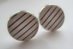 Silverplated Classic Pin Stripes Cufflinks - 20mm Round Glass Cabochons