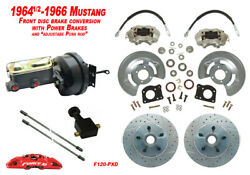 1964-66 Ford Mustang Front Drum To Power Disc Brake Conv Kit Cross Drill Rotors