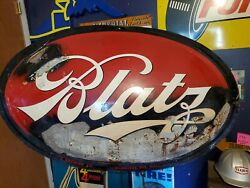 Huge Rare Vtg 1950and039s Blatz Brewing Co Milwaukee Wi 54 X 36 Beer Brew Sign Htf+