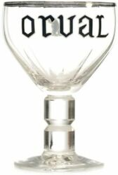 New Orval Belgian Brewery Beer Chalice Tulip Goblet Glass Enameled Rim Collector