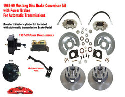 1967-68-69-70 Ford Mustang Front Drum To Power Disc Brake Conv Kit- Auto Trans