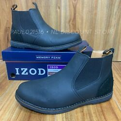 Izod Menand039s Lucas Pull-on Chukka Memory Foam Boots Black Various Sizes