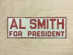1928 Al Smith President Campaign Advertising Sign License Plate Topper Embossed