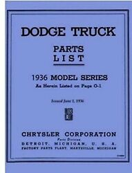 Factory Parts Manual For 1936 Dodge Trucks