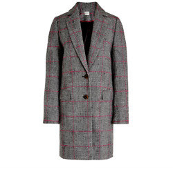 J. Crew Womenand039s Glen Plaid Topcoat Black Ivory Plum At103 New With Tags 10 248