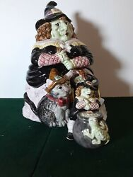 Rare Fitz And Floyd 1992 Hoedown Witch Calderon Cookie Jar W/salt And Pepper