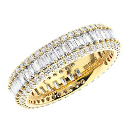 F/vvs2.50 Ct Round And Baguette Cut Diamond Full Eternity Ring In 18k Yellow Gold