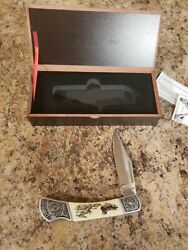 Falkner Knife Collectible Lock Blade Folding Knife White With Ducks