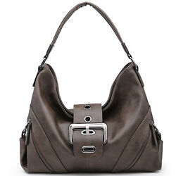 Women Faux Leather Hobo Bags Classic Elegant Buckled Handbags $36.99