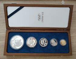 South Africa Rare Proof 5 Dif Coins Set 5-50 Cents 2004 Year Leopard Gold Medal