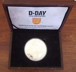 Jersey Rare Giant 10oz Silver Proof 50 Pounds Coin 2014 Year 70 Anni D-day Ship