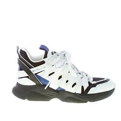Chaussures Femme White Leather Black Fabric Hero Trainer Sneaker