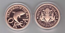 Sealand Principality Copper Proof 2-1/2 Dollar Coin 1994 Year Orca Whale