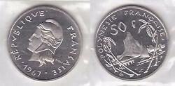 French Polynesia - Rare 50 Francs Unc Coin 1967 Year E3 Essai In Mint Pack