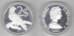 Cayman Islands Rare Silver Proof 2 Coin 1983 Year Km75 Parrot