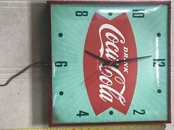 Authentic Antique 1960s Drink Coca-cola Fishtail Advertising Sign Clock, Working