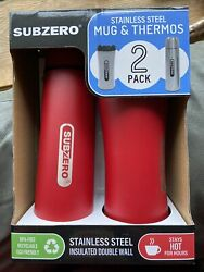 Subzero Stainless Steel Mug And Thermos 2 Pack Set Insulated Double Wall Black