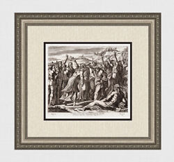 Raphael 1649 Vatican Engraving Solomon Anointed King Signed Gallery Framed Coa