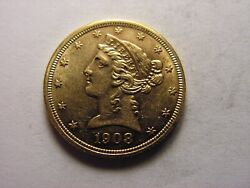 1908 - P Coronet Head Five Dollar Gold, Looks To Be In Unc. Condition