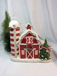 New Blue Sky Clayworks Christmas Red Barn Cookie Jar 2018 By Heather Goldminc.