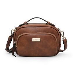 Women Faux Leather Crossbody Messenger Bags Multi Zipped Compartment Purse $22.79