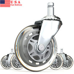 1/2/4 Sets Office Chair Caster 3-inch Pu Swivel Wheels Replacement Heavy Duty