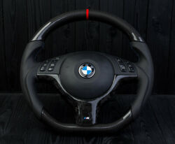 Bmw Oem Sport Steering Wheel E46 M3 E39 M5 Leather M Forged Carbon Red Stripe