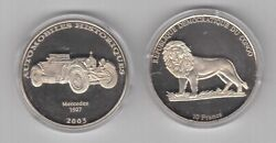 Congo Nickel 10 Francs Proof Coin 2003 Year Car History Automobile Mercedes 1927