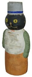 Early German Antique Composition Black Cat Candy Container Halloween Xmas 8