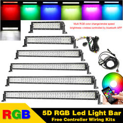 14-52 In Rgb Offroad 5d Led Light Bar Fog Driving Strobe Bluetooth And Wiring Kit