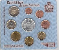 San Marino 9 Dif Unc Coins Set 1 Cent - 5 Euro Silver 2005 Year Mint Pack