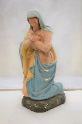 + Nice Older Nativity Set Figure Of Mary, 14 Ht. From Old Church Set Cu1201 +