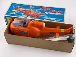 Vintage Battery Operated Super Copter Taiwan Helicopter Toy With Original Box
