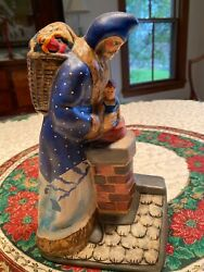 Father Christmas On Roof Vaillancourt Chalkware 9 1/4 Inches