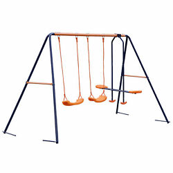 Outdoor Child Swing Slider Set Garden with 2 Swings and 1 Glider Backyard Metal