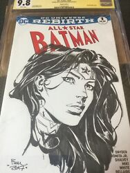 All Star Batman 1 Blank Variant Cgc 9.8 Ss And Sketch By Finch-wonder Woman