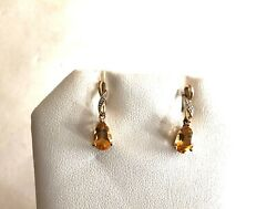 Solid 10k Yellow Gold, Diamond And Citrine Tear Drop Earrings- See Gold, Coins