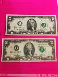 1 - 2003a And 1 - 2009 2 Us Two Dollar Bill Note
