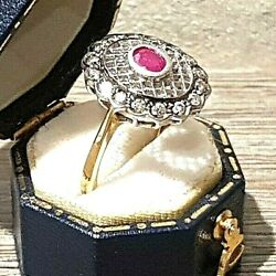 Beautiful Deco 18ct Two Tone Gold Ruby And Fancy Diamond Cluster Ring Size N 1/2