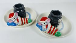 2 Avon Candle Holders Sleeping Mice In Christmas Stockings By Pot Belly Stoves