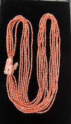 Natural Pink Coral Long 6 Stand Necklace With Carved Flowers 150g