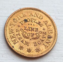 Look_1861-1865 New York And Albany Peoples Line Of Steamboat Brass Token