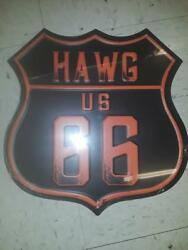 Route 66, Hawg Metal Sign 10 By 10 Inches  Letters Are Raised Gas Shop