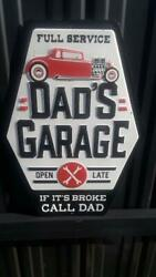 Dad's Garage Full Service Metal Sign Raised Letters 13 By 9 Inches Gas Shop